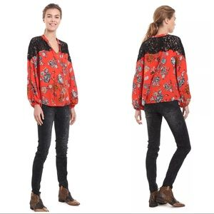 Desigual Red Orange Floral Ketty Lace Blouse